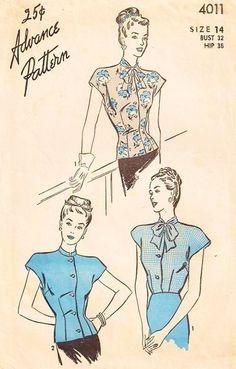 1940s ADVANCE PATTERN 4011 BLOUSE OVERBLOUSE STYLISH,BEAUTIFULLY FITTED,  2 NECKLINE VERSIONS,WW II ERA