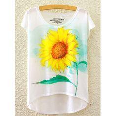 Refreshing Women's Scoop Neck Sunflower Print High Low Short Sleeve T-Shirt #women, #men, #hats, #watches, #belts