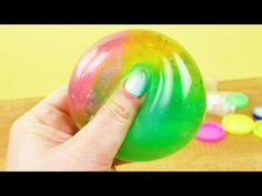 REGENBOGEN Antistressball   Super schöner SCHLEIM BALL mit GLITZER   DIY - YouTube