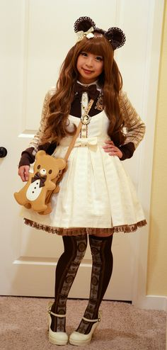 I went to my comm's monthly meet-up. I wanted to dress kinda cute so I dressed like a chocolate-y bear!Dress, Cutsew, Cardigan, Socks, Bag: Angelic PrettyHeaddress: BTSSBShoes: AATPNecklace: Automatic HoneyMisc. Accessories: Gifts and Offbrand