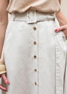 Beige Button Front Skirt - Frankie Shop