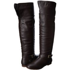 DOLCE by Mojo Moxy Deacon Women's Pull-on Boots, Brown ($20) ❤ liked on Polyvore featuring shoes, boots, brown, over-the-knee boots, lined boots, over knee boots, round toe boots, above knee high boots and brown thigh high boots