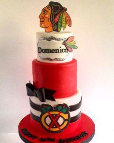 Chicago Blackhawks cake for a girl