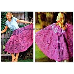 INSTANT DOWNLOAD PDF Vintage Crochet Pattern  Poncho Skirt  Cape Beach Cover Up 1970s Retro