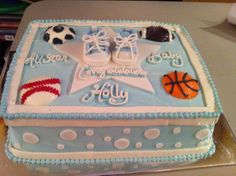Sports themed baby shower cake.