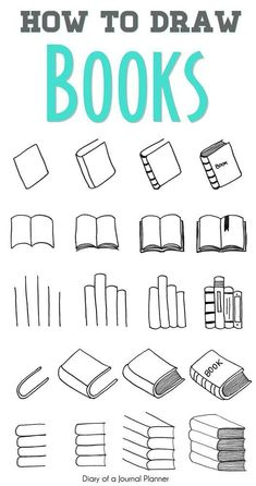 Easy step by step tutorials on how to draw a book. Learn how to draw a book open, book cover, doodle book shelf, draw a pile or stack of books and more. - Easy step by step tutorials on how to draw a book. Learn how to draw a book open. Doodle Bullet Journal, Bullet Journal Simple, Bullet Journal Banner, Bullet Journal Aesthetic, Bullet Journal Notebook, Bullet Journal Ideas Pages, Bullet Journal Inspiration, Book Journal, Journal Prompts