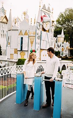 Travis and Katie's anniversary portrait session at Disneyland is pure holiday magic