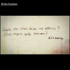 Soğuk mu orası, üşüdü mü ellerin, ister misin gelip tutmamı? sen sen veya ben gelmezsem kadın, #başkent gider içim üşür ayaz düşer #izmir de #konak meydanı istanbul da #taksim düşer #dediadam... - #yazar #şiirsokakta #kitap #oku #duvar #sokakta #şiir #kitaplar #takip #yalnızlık #aşk #bilgi #Love #sinema #twitter #moda #sev #followme #film #roman #hayat #edebiyat #fotoğraf  www.dediadam.com http://www.instagram.com/dediadam