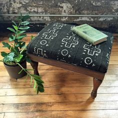 Upcycled Footstool with African Mudcloth by territoryhardgoods