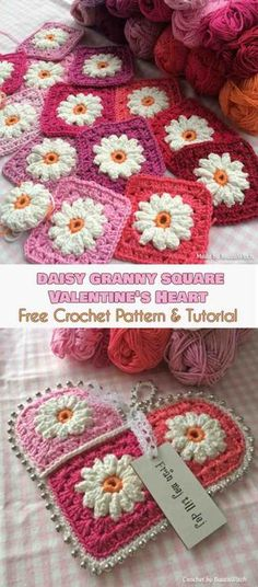 Daisy Granny Square Valentine's Heart [Free Crochet Pattern and Tutorial]