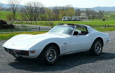 """""""Hello, i love you, won't you tell me your name""""... ha ha. THIS is my top dream car. 1972 white Stingray with t-tops. The only thing i could NOT find was a picture with the red interior, which i would need. :)"""