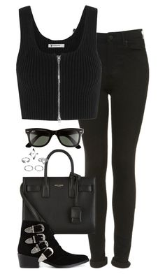 """""""Untitled #4921"""" by eleanorsclosettt ❤ liked on Polyvore featuring Topshop, T By Alexander Wang, Yves Saint Laurent, Toga and Ray-Ban"""