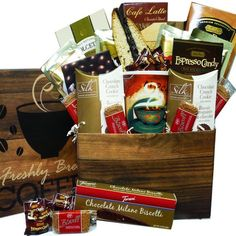 Coffee Gift Baskets - Art of Appreciation Gift Baskets Coffee Lovers Care package Gift Box. This thoughtful Coffee Lovers Care Package is a great gift box arrangement, complete with a coffee mug, then filled to overflowing with premium coffee and gourmet go togethers for your java loving recipient to enjoy.