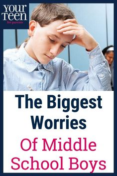 No strangers to worry, middle school boys have plenty to feel anxious about. Being accepted by their peers and disappointing their parents top the list. Information and advice for how to help middle school boys handle their stress. Raising Teenagers, Parenting Teenagers, Parenting Books, Gentle Parenting, Parenting Humor, Peaceful Parenting, Parenting Advice, Middle School Boys, Toddler Chores