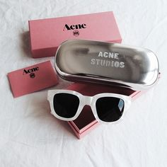 white sunglasses nalieli: In love with my new Acne Studios pearlescent frames. (at NALIELI. Ray Ban Sunglasses Sale, Sunglasses Outlet, Sunglasses Online, Cat Eye Sunglasses, Sunglasses Women, Sunglasses 2016, White Sunglasses, Discount Sunglasses, Sports Sunglasses