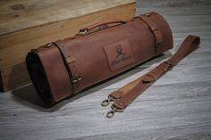 Chef Knife Case, Rifle Bag, Leather Rifle Sling, Leather Bag, Brown Leather, Spyderco Knives, Cooks Knife, Case Knives, Messenger Bag