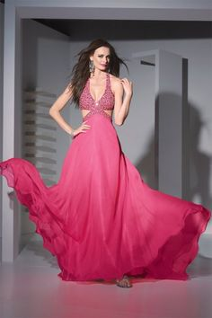 2cc3ddb17a Flowing Halter Beaded Chiffon Evening Dress Cut Out Prom Dresses