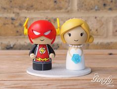 The Flash groom and bride wedding cake topper https://www.facebook.com/genefyplayground