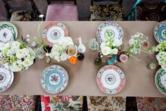 Mismatched china place settings