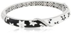 Sterling Silver Diamond Black and White Enamel Floral Bangle Bracelet (0.08 cttw, I-J Color, I3 Clarity)