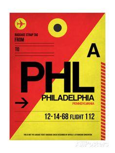 PHL Philadelphia Luggage Tag 2 Art Print