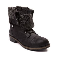 Get from point A to point chic with the new Destinn Boot from Madden Girl! The Destinn Boot rocks a combat boot design constructed with distressed, vintage uppers, lined with a warm fleece textile, and a cuffable shaft for versatile style.   <br><br><u>Features include</u>:<br> > Synthetic leather upper with warm fleece lining<br> > Lace closure for a secure fit<br> > Back zipper provides easy slip-on and off<br> > Cuffable collar with dual side snaps<br> > Rugged rubber outsole with lug…
