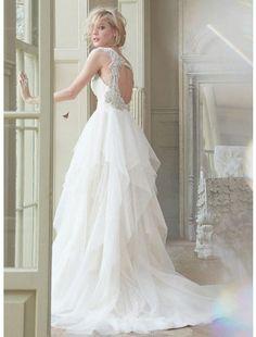 Gorgeous Tulle & Satin A-line V-neck Raised Waistline Beaded Wedding Dress - Wedding Dresses - CDdress.com
