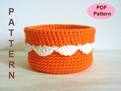 PDF Pattern, Crochet Basket Pattern, Crochet Scallop Edge Basket, Crochet Bowl Pattern, Instant Download