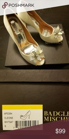 "Badgley Mischka ""Cleone"" Bridal/Formal Pumps--9 Brand new in box,  beautiful white satin peep toe pumps with crystal detailb 5"" heels w/4.5"" concealed platforms. Color is more off-white or ivory than pure white. Badgley Mischka Shoes Heels"