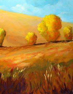 Golden Prairie - painting by Nancy Merkle nancy-merkle.artistwebsites.com #prairielandscape #impressionism #homedecor Yellow Art, Mellow Yellow, Color Yellow, Landscape Art, Landscape Paintings, Landscapes, Prairie Meadows, Original Artwork, Original Paintings