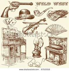hand drawn wild west collection - stock vector