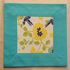"Judith Lagoon Floral Cloth Napkins w/ 2"" mitered corners. Beautiful, reversible 17"" x 17"" one of kind cloth napkins . Create your own unique combination - floral print with a turquoise insert, floral print with yellow insert, turquoise with a floral insert, or yellow with a floral insert. You won't see these napkins in any department or linen store. Please remember that the napkins are handmade, therefore size may vary slightly. Quality and attention to detail will always be up to my..."