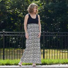 Ladies Black White Damask Knit Tank Dress