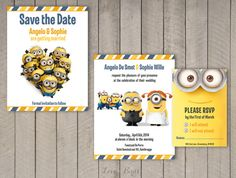 Minion Wedding invitation Set  Save the Date door SophiesLoveBirds
