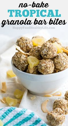 No-Bake Tropical Granola Bar Bites - Great for healthy after school snacks or on the go.