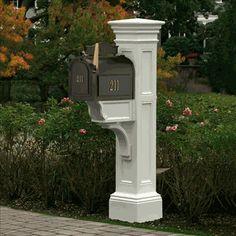 Mayne Liberty White Mailbox Post 5805 W Large Mailbox, Mailbox Post, Mailbox Ideas, Mailbox Designs, Diy Mailbox, Porch Ideas, Patio Ideas, Yard Ideas, Houses