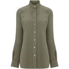 Frame Denim Khaki Cotton Le Tunic Shirt (5.625 RUB) ❤ liked on Polyvore featuring tops, tunics, shirts, up, khaki military shirt, military shirt, khaki long sleeve shirt, khaki green shirt and green tunic