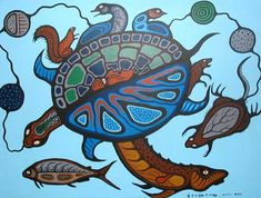"Recreation Myth"", © Carl Ray Estate -Elements that identify Woodland art in… Native American Artists, Canadian Artists, Native Canadian, Aboriginal Day, Aboriginal Education, Kunst Der Aborigines, Woodland Art, Indian Artist, American Indian Art"