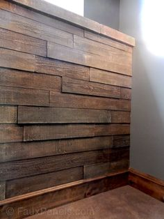 This accent wall was created with our reclaimed barn wood panels