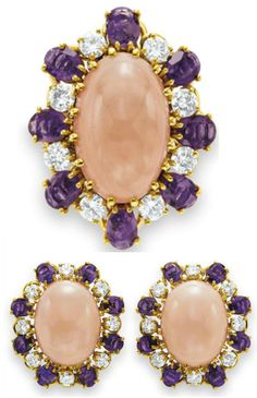 Elizabeth Taylor's Love Affair with Jewelry .....       Van Cleef and Arpels Coral, Amethyst, and Diamond  Ring and Earrings.