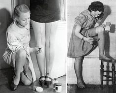 """Due to a shortage of stocking material, many women during the WWII era painted their legs a shade darker and drew a line down the backs of their legs to present the illusion of wearing stockings."""