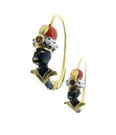 Yellow Gold18 kt Ruby in the turban Enamel black and white ~ Moretti Venetians, jewels handmade