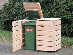 2er Mülltonnenbox Holz, 120 L & 240 L, Douglasie Natur