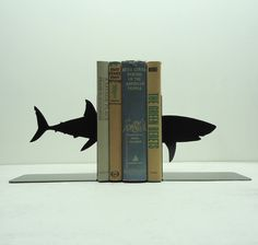 Shark Metal Art Bookends - Free USA Shipping. $44.99, via Etsy. Andrew's office