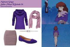 grey skirt, violet top, lavender scarf, chestnut hair