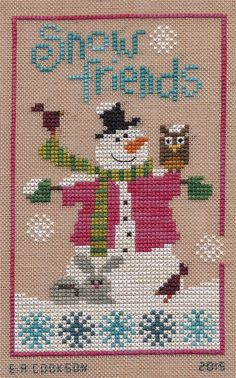 "Design - Six Fat Men - ""Snow Friends"" Designer - Lizzie Kate Fabric - WDW & Crescent Colors -28 count Amber linen Fibers - 2 stran..."