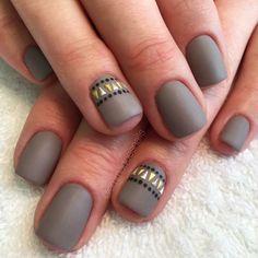 Matte nails gray nails taupe nails tribal nails Aztec nails nail art nail design short nails cute nails summer nails fall nails gel mani