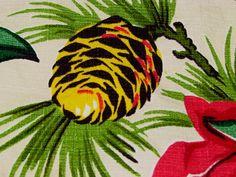 8YDS 30's Rarest Design Malaya Pinecones on WHITE Vintage Barkcloth Fabric Panel | eBay