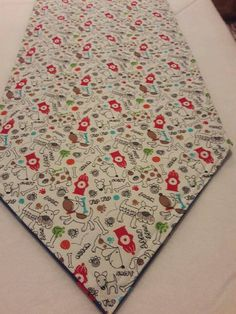 Dog Lover Reversible Table Runner 72x14 Handmade and Padded