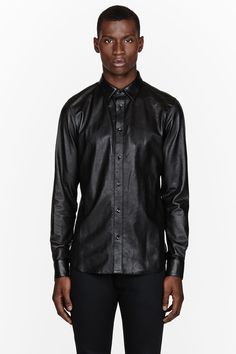 a5d3465bd Saint Laurent Black Textured Leather Shirt for men